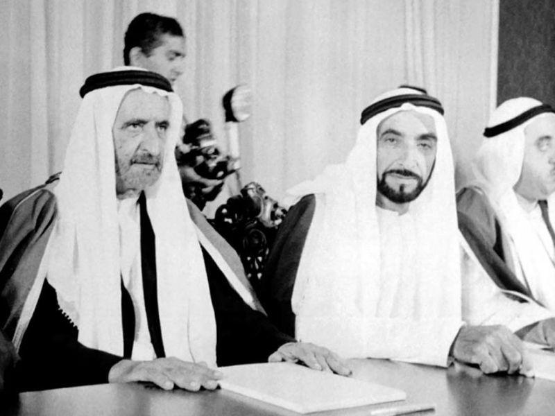 historic image of his highness sheikh zayed bin sultan al nahyan and his highness sheikh rashid bin saeed al maktoom