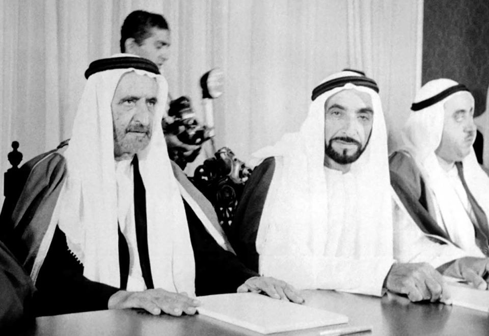 historic image of his highness sheikh zayed bin sultan al nahyan and his highness sheikh rashid bin saeed al maktoom
